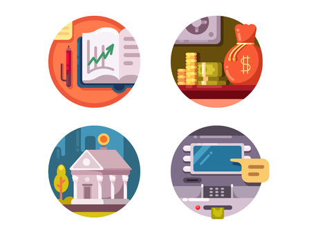 Financial institution money. Bank and ATM for issuance of banknotes. Vector illustration Illustration