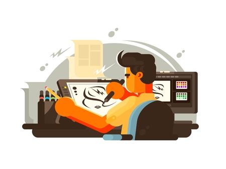 Ontwerperillustrator trekt op werkplek met tablet. Vector illustratie