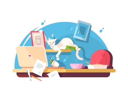 Cute cat and mess in workplace. Clutter on table. Vector illustration