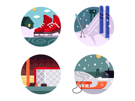 Winter sports icons set. Skiing and ice skating. Vector illustration Illustration