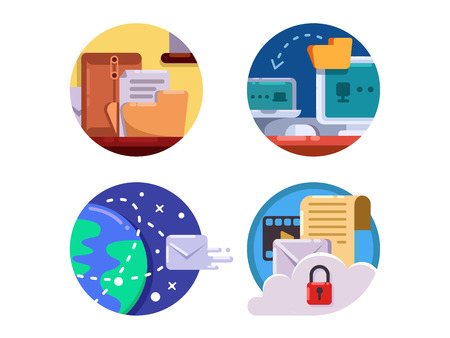 document management: Documentation and document management in business icon set. Vector illustration Illustration