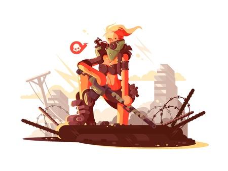 peacemaker: Postapokalipsis girl on ruins of city with gun. Vector illustration