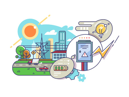 Energy and electricity supply. Current for light bulbs or batteries. Vector illustration