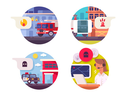 Emergency call icons set. Fire and ambulance or police. Vector illustration Illustration