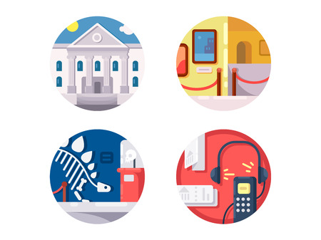 audio: Museum of icons set. Audio tour and showing of exhibits. Vector illustration Illustration