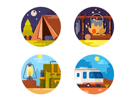 overnight: Camping set icons. Overnight in tent, campfire and hike with backpack. Vector illustration