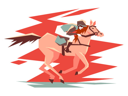Equestrian horse racing. Rider on stallion quickly jumps. Vector illustration Illustration