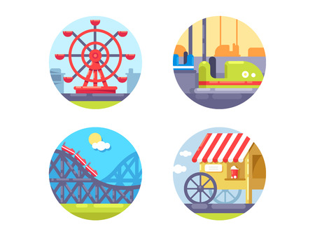 Amusement park and recreation. Icons set ferris wheel and roller coaster. Vector illustration