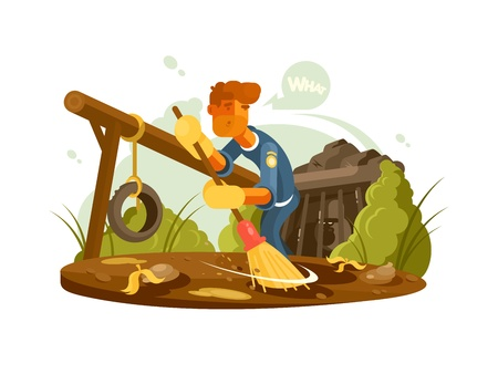 apprehension: Cleaner cleans in zoo gorilla in aviary. Vector flat illustration