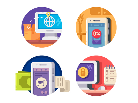 tracking: Internet technology icons. Tracking and payment from smartphone. Vector illustration