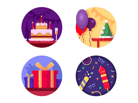 Birthday icon flat color. Cake gifts and fireworks. Vector illustration