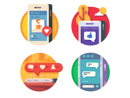 Like putting in social networks. Set of flat icons. Vector ilustration Çizim