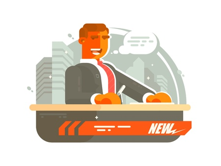 presenter: Television news presenter man said on air. Vector illustration Illustration