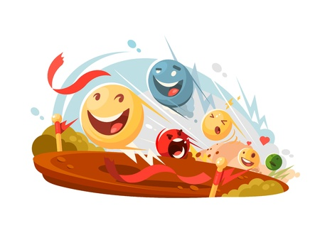 Funny emotional smileys compete in race. Vector flat illustration Illustration