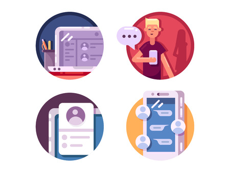internet phone: Communication internet icons. Chatting and messaging using phone. Vector illustration