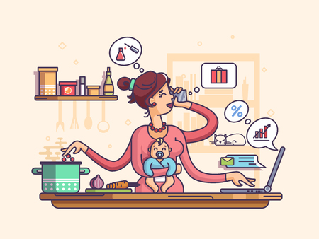 hand colored: Mother nursing baby, preparing to eat, talking on phone and works. Vector illustration