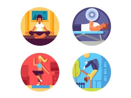 street life: Fitness for healthy life icons set. Gym and yoga, aerobics and street workout. Vector illustration
