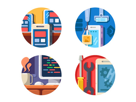 programming code: Programming mobile application icons set. Write code to program. Vector illustration Illustration