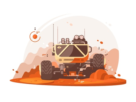 explores: Mars rover explores surface of planet Mars. Vector flat illustration Illustration