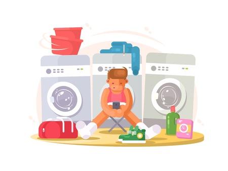 slip homme: Man in underwear waiting washing