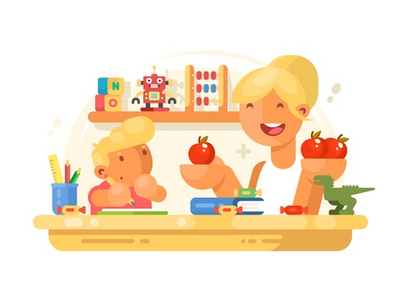 helps: Mom helps son do homework Illustration
