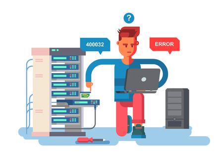 laptop repair: IT Specialist network Illustration