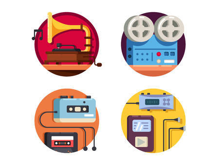 vintage: Music player vintage retro icons