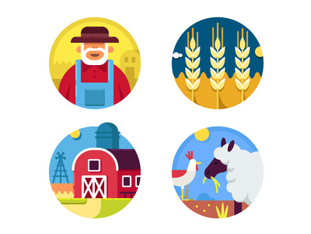 grain fields: Farming set icons