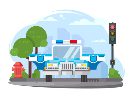 flasher: Police car with flasher