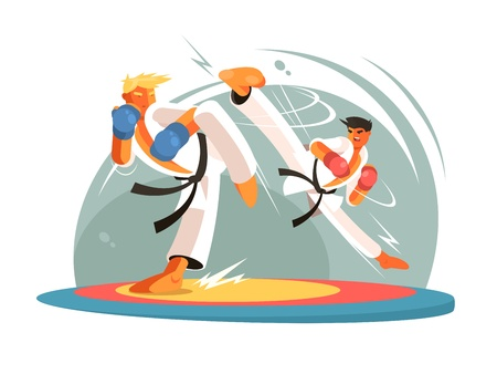 combative: Guys karate sparring for training