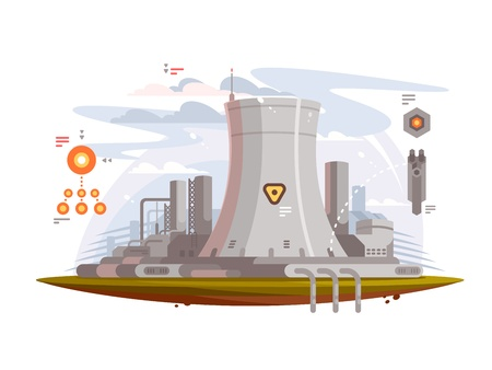 Powerful nuclear reactor at power plant to provide electricity. Vector illustration