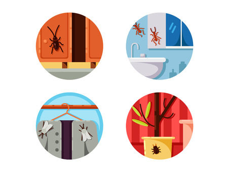 pixel perfect: Household vermin set. Cockroach and moth. Vector illustration. Pixel perfect icons size - 128 px