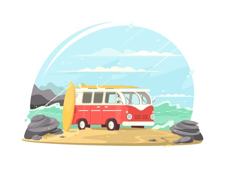 Surfing van with boards Illustration