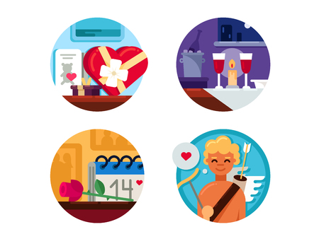 Valentine Day set of icons Illustration