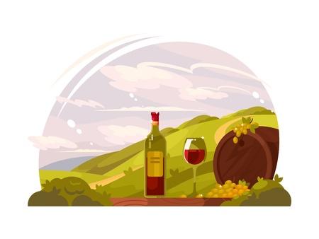 Vineyard with rich harvest Illustration
