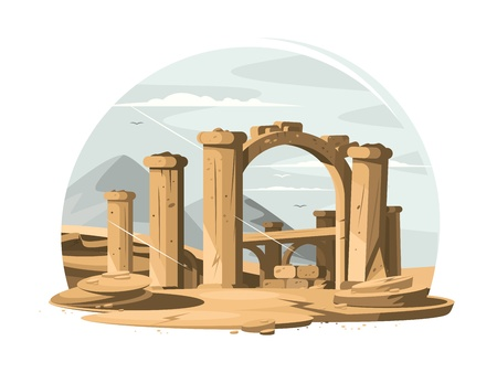 roman pillar: Architectural ruins old Illustration