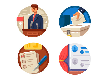 Voting set icons Illustration