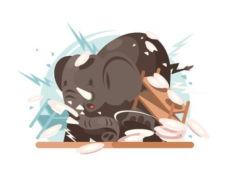 breaks: Elephant breaks utensils Illustration