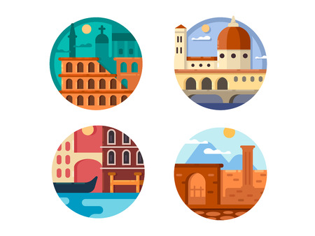 pixel perfect: Italy set. Colosseum in Rome and river canals of Venice. Vector illustration. Pixel perfect icons size - 128 px