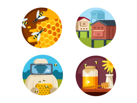 honeyed: Apiary set. Honeyed farm and collect honey. Vector illustration. Pixel perfect icons size - 128 px Illustration