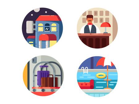Hotel service icons set Illustration