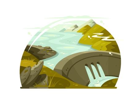 Río enorme presa Ilustración de vector