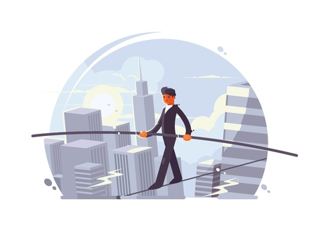 tightrope: Tightrope walker going on rope with stick between skyscrapers. Vector illustration