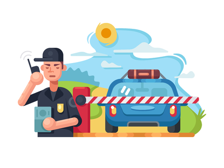 checkpoint: Traffic police checkpoint Illustration