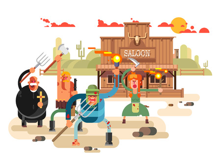 People with torches and pitchforks Illustration