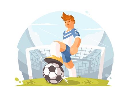 漫画キャラクターのフットボール選手  イラスト・ベクター素材