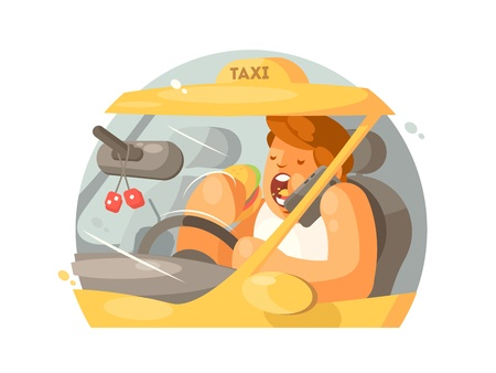 Taxi driver driving Stock Vector - 73937007