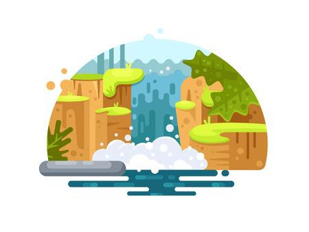 Natural river waterfall