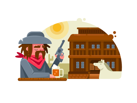 Cowboy with revolver drinks beer in pub Illustration