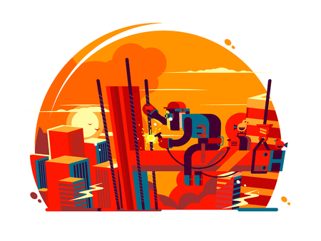 Welder climber character in a round sunset on a white background 矢量图片